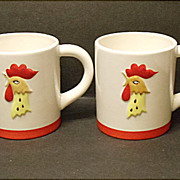 Vintage Pair Mugs - Holt Howard Coq Rouge 1964 - Red Rooster Cups