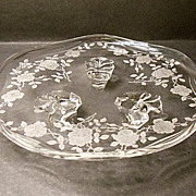 "Fostoria Willowmere #333 Etch Tidbit Dish - #2560 Coronet Blank - 8"" - Beautiful Roses"