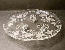 "Fostoria Willowmere #333 Etch Tidbit Dish - #2560 Coronet Blank - 8"" - Beautiful Roses"