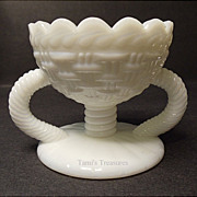 Vintage Basketweave Atterbury Master Salt - Old Opal Glass - Milk Glass - 1870's