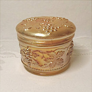 Vintage Carnival Glass Powder Jar - Dugan Vintage Grape Pattern -  Vanity Jar - Antique - Marigold