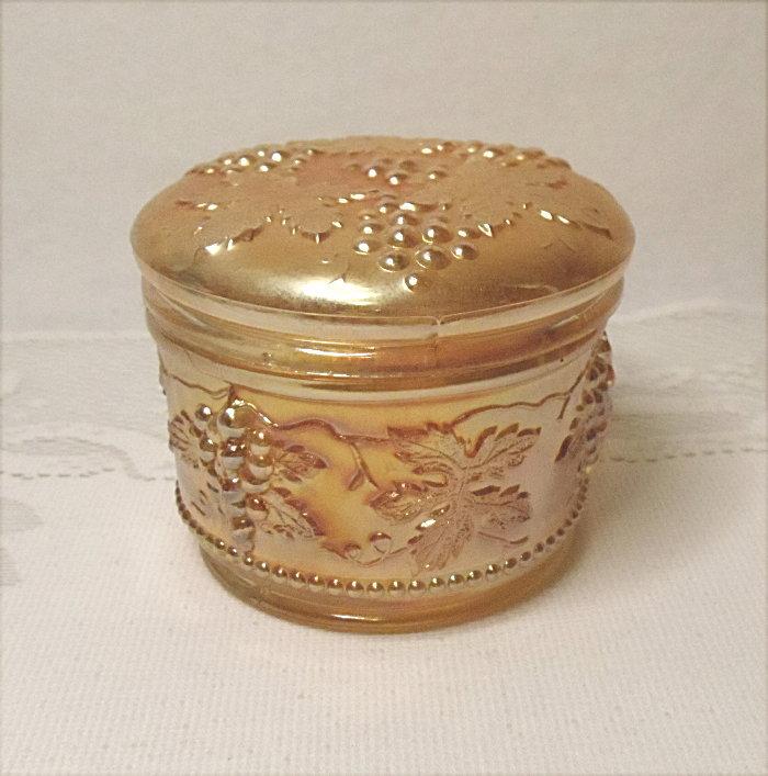 Vintage Carnival Glass Powder Jar - Dugan Vintage Grape Pattern -  Vanity Jar - Antique - Marigold