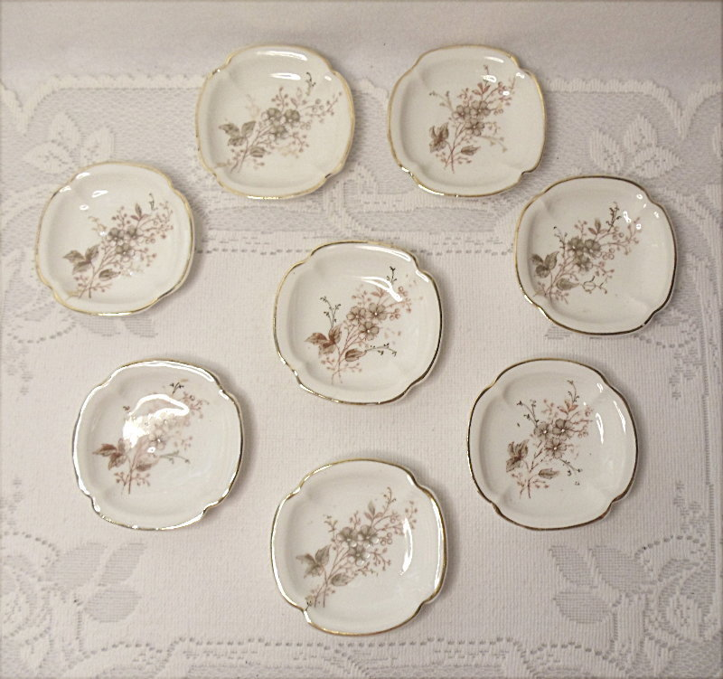 Antique Carlsbad Austria Porcelain Butter Pats - Pattern CAR46 - Set of 8