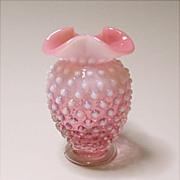Vintage Fenton Hobnail Cranberry Opalescent Miniature Vase #3855