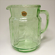 "Hocking Cameo - Ballerina - Depression Era - Green 36 ounce - 6"" Juice Pitcher  With Original Sticker"