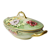 SALE SAVE 30% - Lovely Covered Oval Vegetable Dish - Pansies Galore - H & Co. - Heinrich - Selb - Bavaria