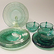 "Depression Era - ""Pretty Polly Party Dishes"" - Jeannette Glass - Doric And Pansy - Ultramarine Blue - 10 Pieces"