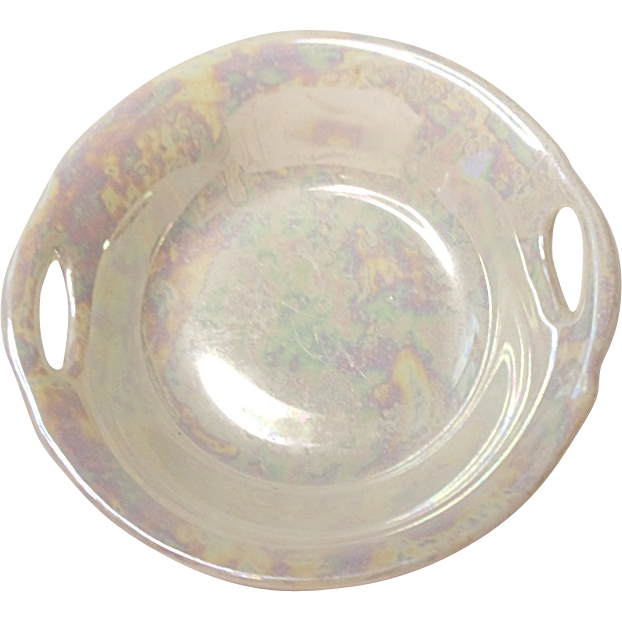 Five Vintage Porcelain Bavaria Handled Open Salts - Nut Dish - Luster Iridescent