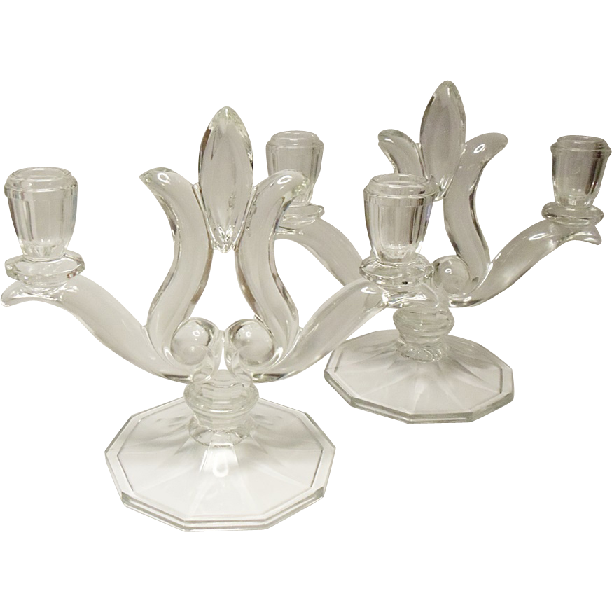 Vintage Indiana Glass Large Size Two Light Candle Holders