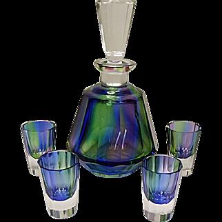 SALE - Signed Posselt Kristall - Germany - Cut Glass Decanter Set - Regenbogen - Rainbow - Posseil
