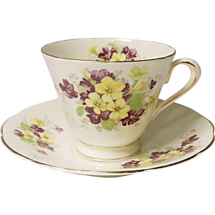 Vintage - Tuscan China Tea Cup and Saucer Set - England - Violets
