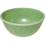 "Vintage Anchor Hocking Fire King 8"" Jade-ite / Jadite Swirl Mixing Bowl"