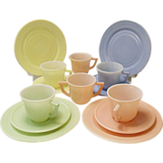 Vintage Hazel-Atlas Little Hostess Pastel Party Set Complete 14 Piece Moderntone