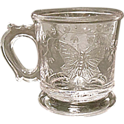 "Antique - Bryce, Higbee & Co. Butterfly With Spray Child's Mug 2-1/2""  -  Ca. 1885"
