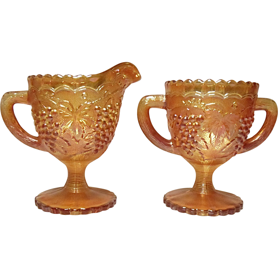 SAVE 20% - Imperial Glass Marigold Iridescent Grape Pattern Sugar and Creamer