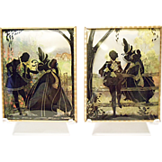 "Vintage Benton Glass Convex Silhouettes 4"" X 5"" - Pair - 1939"