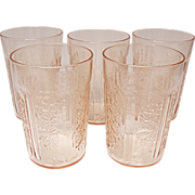 "5 - 4"" Sharon - Cabbage Rose -  Thin Pink Tumblers - Depression Era Federal Glass"