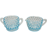 "Vintage Fenton ""No Opalescent"" Blue Opalescent  Hobnail - Mini Cream and Sugar"