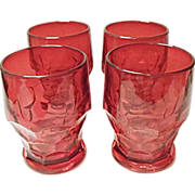 Four Matching Vintage Ruby Red Georgian Honeycomb Tumblers