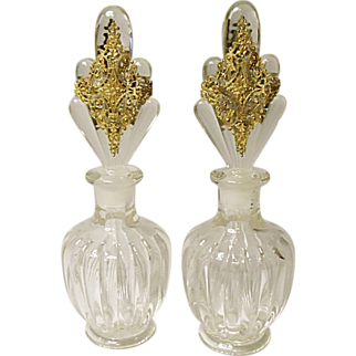 SALE SAVE 25%  -  Vintage Pair Art Deco Pressed Glass Cologne Bottles - Ormolu Decorated Stoppers