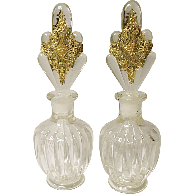 Vintage Pair Art Deco Pressed Glass Cologne Bottles - Ormolu Decorated Stoppers