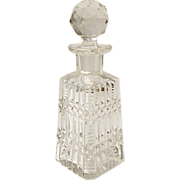 Vintage - Cut Glass Lead Crystal Cologne - Perfume - Zipper and Diamond Ribbed Pattern - Art Deco