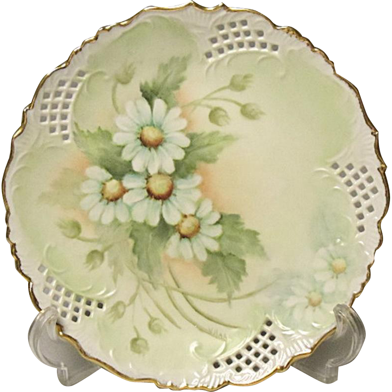 "SAVE 20% - Vintage Signed Porcelain Hand Painted Daisy Plate - 8-1/4"" - Reticulated Edge"