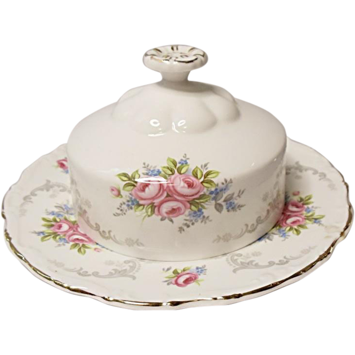 Royal Albert Bone China Tranquillity Round Covered Butter Dish - ENGLAND