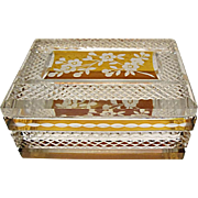 SAVE 20% - Vintage Bohemian Amber Overlay Cut to Clear Crystal Casket - Box