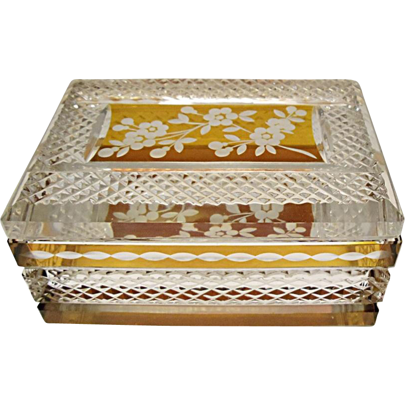 SALE SAVE 30% - Vintage Bohemian Amber Overlay Cut to Clear Crystal Casket - Box