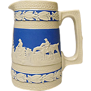 "Antique Copeland - Spode - Miniature 3-3/4"" Cream and Blue Jasperware Pitcher, Hunting Pattern, Dogs, Horses, Hunters, Horsemen"