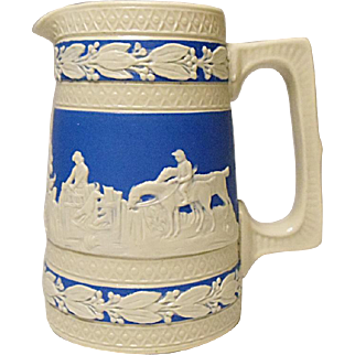 "SALE SAVE 20% - Antique Copeland - Spode - Miniature 3-3/4"" Cream and Blue Jasperware Pitcher, Hunting Pattern, Dogs, Horses, Hunters, Horsemen"