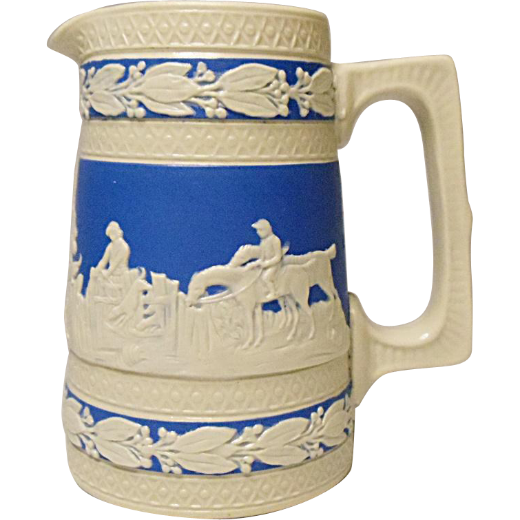 Save 20% - Antique Copeland - Spode - Miniature Cream and Blue Jasperware Pitcher, Hunting Pattern, Dogs, Horses, Hunters, Horsemen