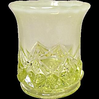 Ca. 1901 Northwood Canary Opalescent Toothpick Holder - Diamond Spearhead