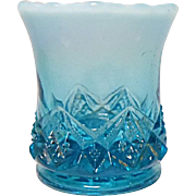 Ca. 1901 Northwood Blue Opalescent Toothpick Holder - Diamond Spearhead