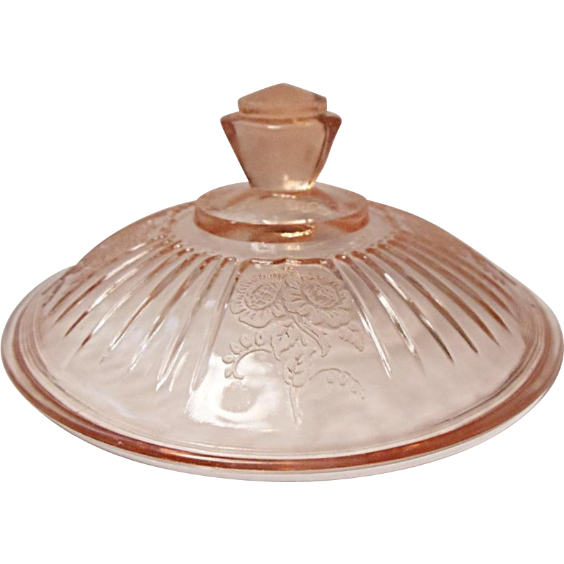 "Hocking Depression Era Pink Mayfair Cover Only For Butter or 7"" Vegetable Dish"