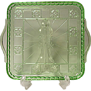 "Depression Green Jeannette Doric Handled Serving Tray 8-3/8"" Square"