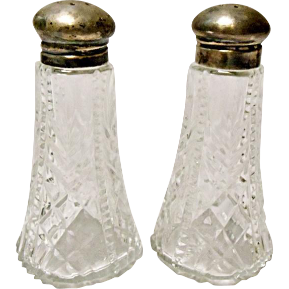 SAVE 25% - Vintage Pressed Glass Salt and Pepper Set - Sterling Lids