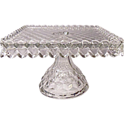 Fostoria American - Pedestal Square Cake Stand - Salver #2056/631 With Rum - Brandy Well