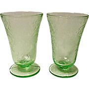 "Depression Era Hazel-Atlas Florentine 2 ""Poppy No. 2"" Footed Tumblers 5"" -  9 ounce"