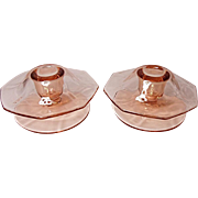Depression Era - Fostoria Fairfax Footed Mushroom Candle Holders (pair) #2375-1/2 Rose Pink