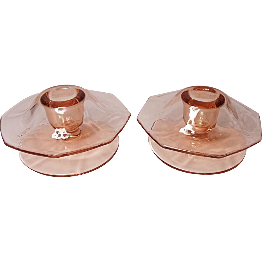 SALE - Depression Era - Fostoria Fairfax Footed Mushroom Candle Holders (pair) #2375-1/2 Rose Pink