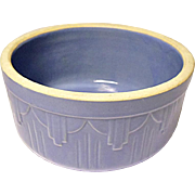 1920's - 1930's Blue Stoneware Crock Bowl - Art Deco - Drape