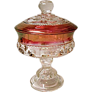 Vintage Indiana Glass Ruby Stained King's Crown Compote W/Lid 5""