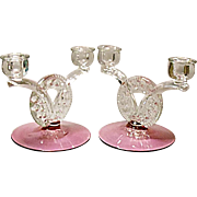 SALE - Vintage Cranberry Tiffin Dubonnet aka King's Crown 2-lite Candle Holders - Pair