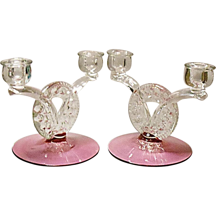 SAVE 15 % - Vintage Cranberry Tiffin Dubonnet aka King's Crown 2-lite Candle Holders - Pair