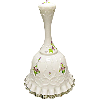 Vintage Fenton Bell - Spanish Lace With Violets In The Snow Decoration
