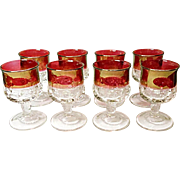 Vintage Indiana Glass Kings Crown - Ruby Band Crown - Wine - Claret Goblets Line #77
