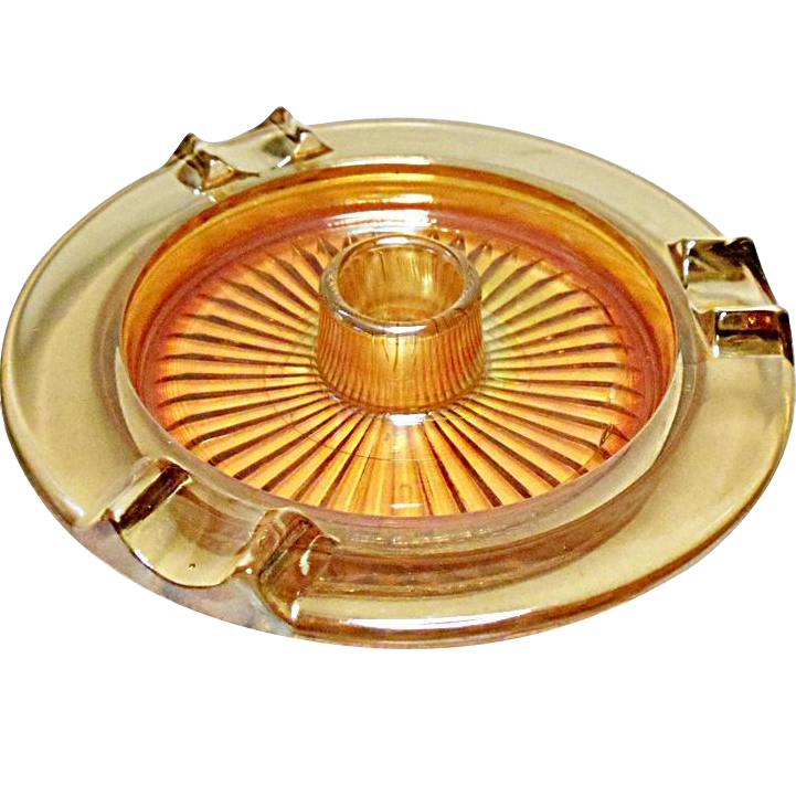 1930's Jeannette Glass Iridescent Carnival Marigold Ashtray - Cigar Cigarette Snuffer