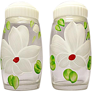 SAVE 20% - Mid-Century Bartlett-Collins Hand Painted White Flower Salt and Pepper Shakers
